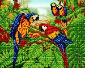 Схема для вышивки бисером на атласе Попугаи