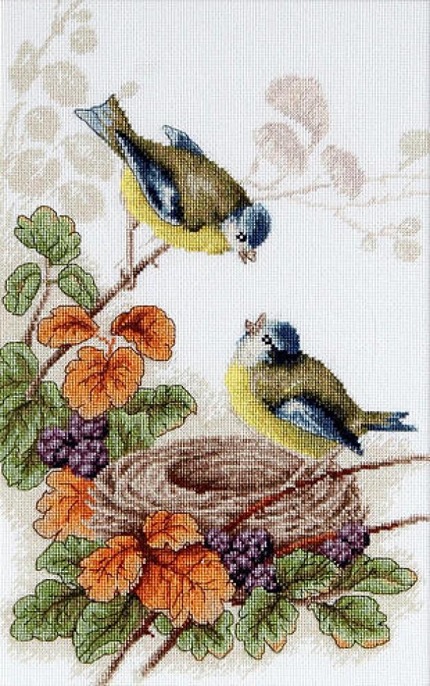 Птичка в цветах вышивка крестом