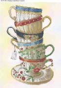 Схема для вышивки бисером на габардине Набор кофейных чашечек