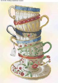 Схема для вышивки бисером на габардине Набор кофейных чашечек, , 70.00грн., А3-К-305, Acorns, Пейзажи и натюрморты