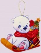Набор для изготовления игрушки из фетра для вышивки бисером Белый медвежонок