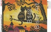 Схема вышивки бисером на габардине Коти на заході сонця