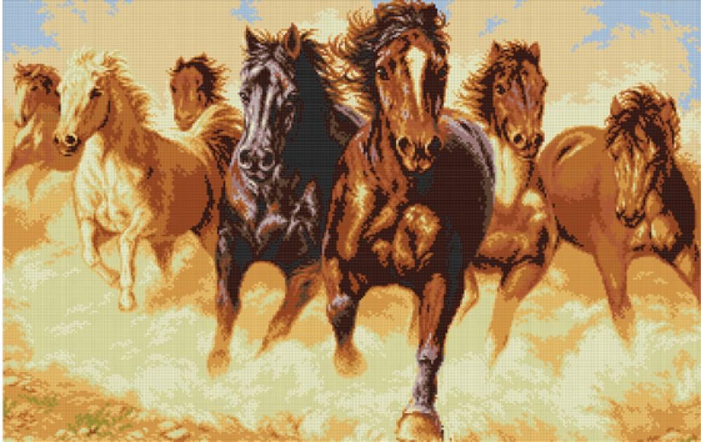 Вышивка коней бисером
