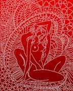 Схема  вышивки бисером на атласе Нежность (Красный)