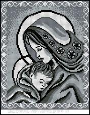 Схема вышивки бисером на габардине Мадонна та дитя Эдельвейс  А-4-001