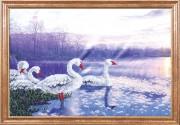 Схема для вышивки бисером на атласе Лебеди на закате
