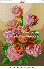 Схема для вышивки бисером на габардине Букет рози Вишиванка БА2-151