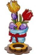 Набор для вышивки по дереву Цветочки в голубой вазе