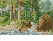 Схема вышивки бисером на габардине Медведи