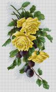 Набор для вышивки крестом Жёлтые розы с виноградом