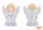 Схема для вышивки бисером на габардине Ангелочек в серебре