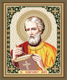 Схема вышивки бисером на габардине Св. евангелист Марк