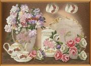 Набор для вышивки в смешанной технике Цветочный чай