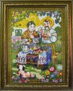 Рисунок на габардине для вышивки бисером Українська сімья