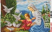 Схема вышивки бисером на габардине Мадонна і голуби