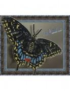 Набор для вышивки бисером на прозрачной основе Бабочка Черный махаон