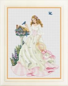 Набор для вышивки нитками Девушка с птицами
