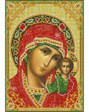 Схема вишивкі бісером на габардині Казанська Присвята Богородиця Acorns А3-И-516