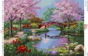 Схемы вышивки бисером на габарине Японский сад