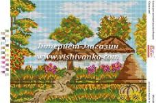 Схема для вышивки бисером на габардине Осінь в селі Вишиванка БА3-342