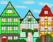 Схема вышивки бисером на атласе Европейские домики 3