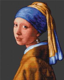 Набор для вышивки крестом Девушка с жемчужиной, , 455.00грн., В467, Luca-S, По мотивам известных художников
