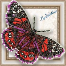 Набор для вышивки бисером на прозрачной основе Бабочка Адмирал красный