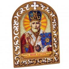 Набор для вышивки бисером на деревяной основе Николай Чудотоврец Вдохновение IKF03