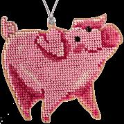 Набор длдя вышивки бисером по дереву Свинка