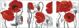 Схема вышивки бисером на габардине Триптих Маки Эдельвейс ТС2-10 - 175.00грн.
