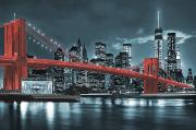 Схема для вышивки бисером на атласе Бруклинский мост (красный)