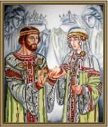 Схема  вышивки бисером на габардине Петр и Февронья Муромские