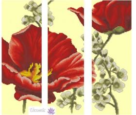 Схема вышивки бисером на габардине Триптих Цветы 2 Эдельвейс ТС-02 - 175.00грн.