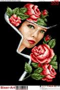 Схема вышивки бисером на габардине Пані в трояндах