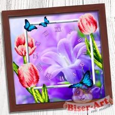 Схема вышивки бисером (нитками) на габардине Годинник Весняний Biser-Art 37410