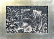 Набор для вышивки бисером на габардине Лунный кот