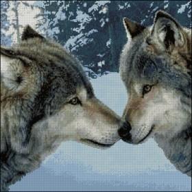 Схема вышивки бисером на атласе Любов вовків