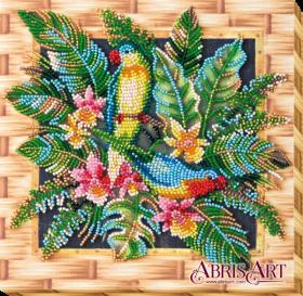 Набор-миди для вышивки бисером на натуральном художественном холсте Попугаи лори