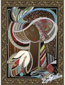 Схема для вышивки бисером на атласе Девушка в шляпе-2 (по картине Д. Беридзе)