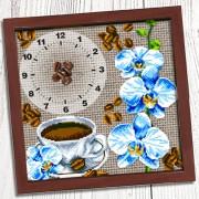 Схема вышивки бисером (нитками) на габардине Годинник Кава з орхідеями