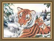 Схема для вышивки бисером на габардине Тигрица с тигрёнком