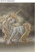 Схема для вышивки бисером на габардине Единорог