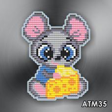 Магнит для выкладки алмазной мозайкой Мышонок с сыром Art Solo АТМ35