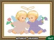Рисунок на ткани для вышивки бисером Ангелочки с цветами