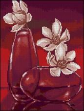 Схема вышивки бисером на габардине Цветы в вазе Эдельвейс С-294