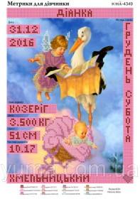 Схема вышивки бисером на атласе Метрика для девочки, , 40.00грн., ЮМА-4349, Юма, Метрики