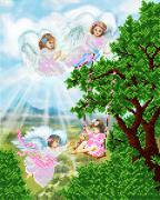 Рисунок на ткани для вышивки бисером Ангелы дитя хранят