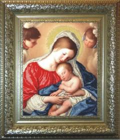 Схема вышивки бисером на ткани Мадонна с младенцем