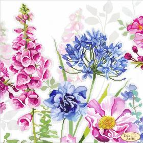 Схема для вышивки бисером на атласе Акварель. Наперстянка и агапантус, , 98.00грн., ТА-399, Tela Artis (Тэла Артис), Цветы