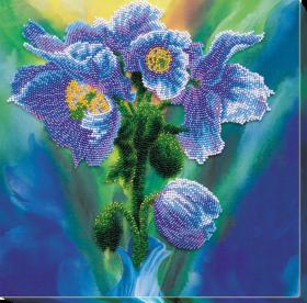 Набор для вышивания бисером Голубые маки